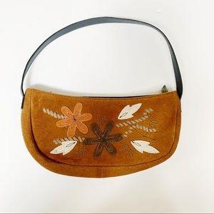 Brown Suede Leather Flower Leaf Small Handbag